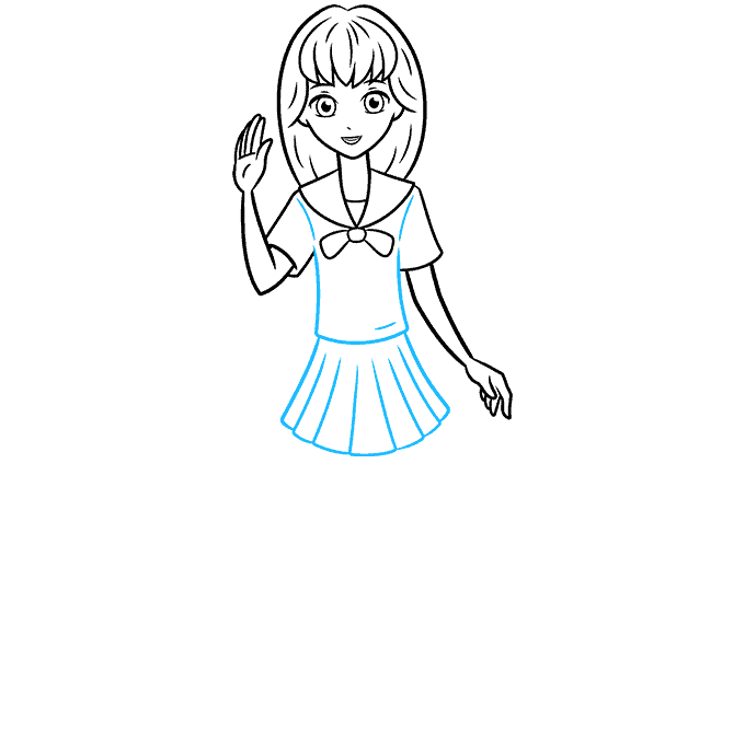 How to Draw an Anime School Girl Step 07