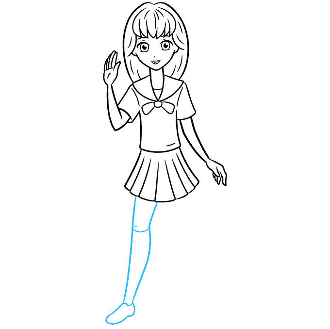 How to Draw an Anime School Girl Step 08