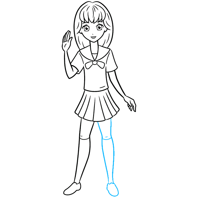 How to Draw an Anime School Girl Step 09