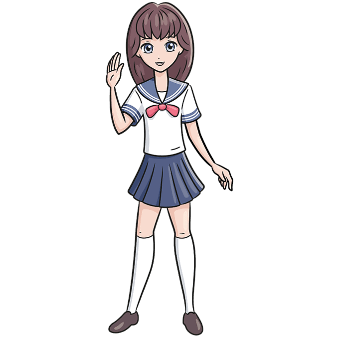 How to Draw an Anime School Girl Step 10
