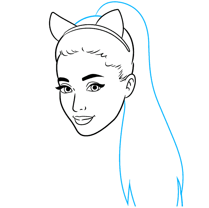 How to Draw Ariana Grande: Step 6
