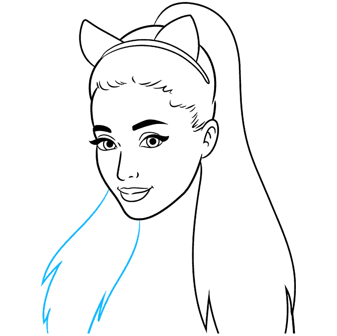 How to Draw Ariana Grande: Step 7