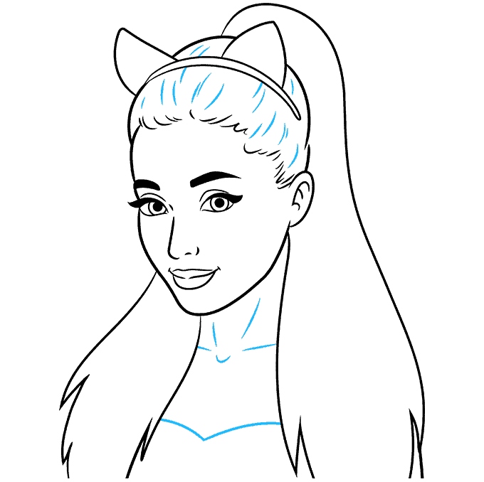 How to Draw Ariana Grande: Step 8