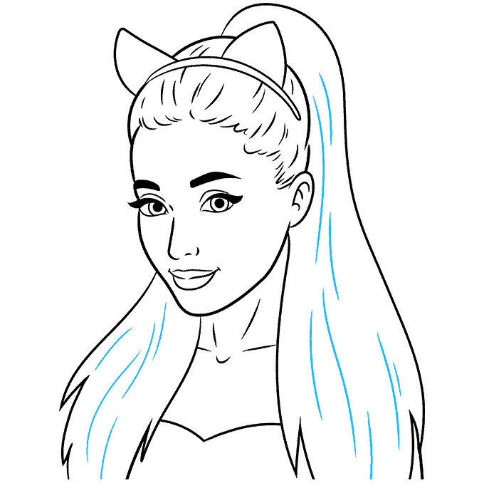 How to Draw Ariana Grande: Step 9