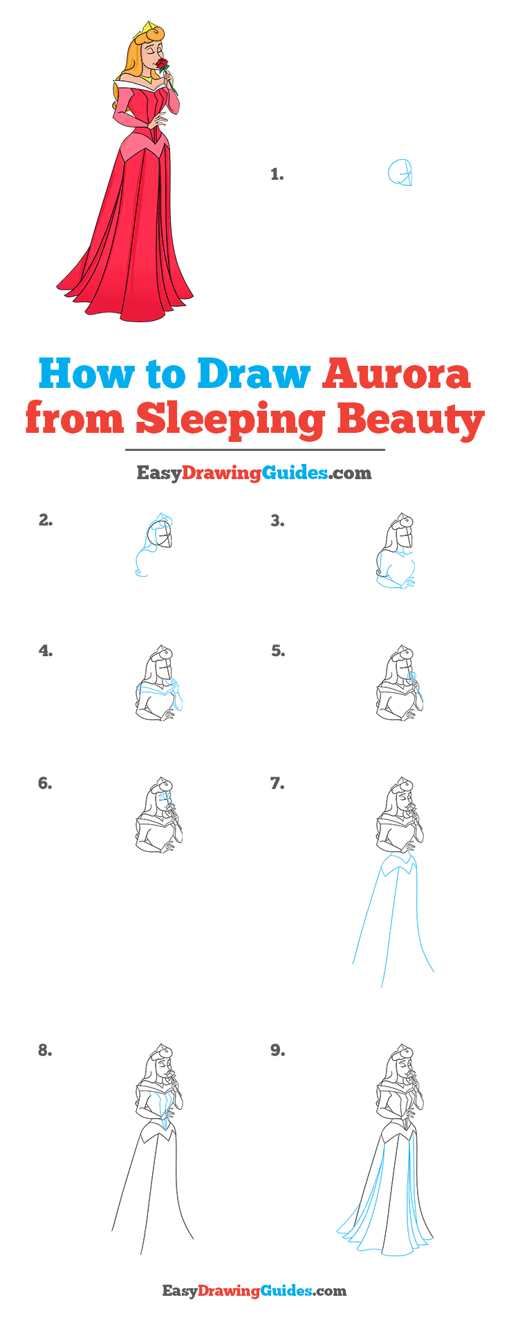How to Draw Aurora from Sleeping Beauty Step by Step Tutorial Image