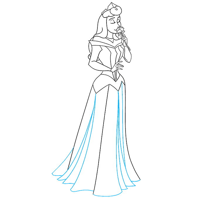 How to Draw Aurora from Sleeping Beauty Step 09