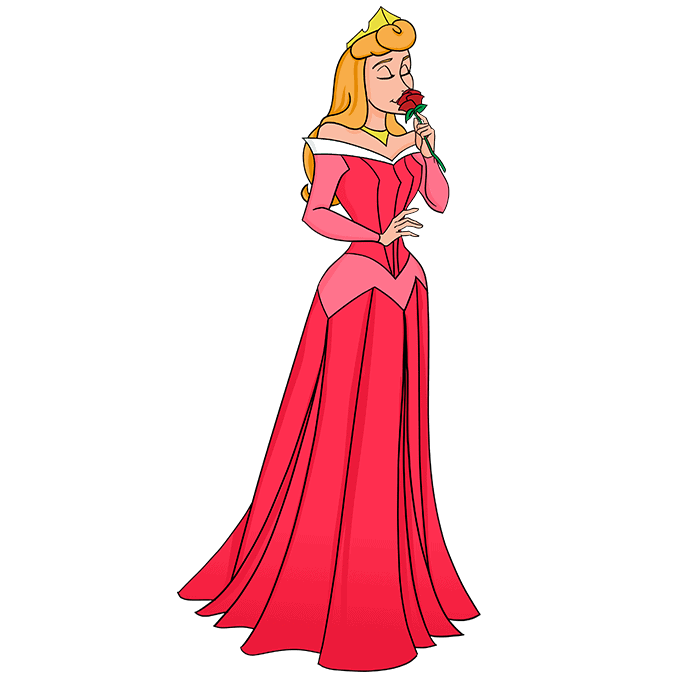 How to Draw Aurora from Sleeping Beauty Step 10