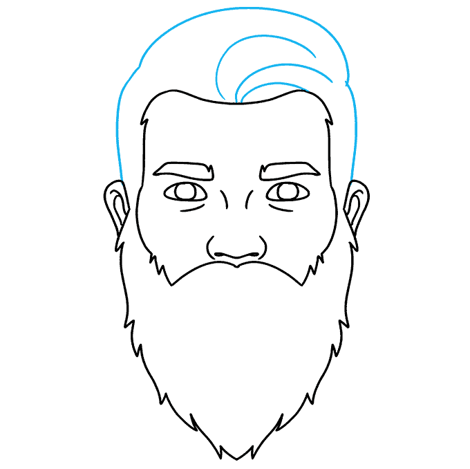 How to Draw Beard: Step 6