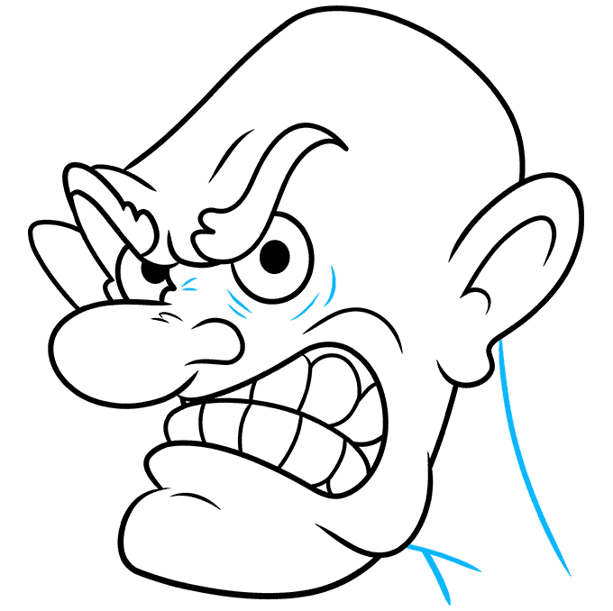 How to Draw Cartoon Angry Face: Step 9