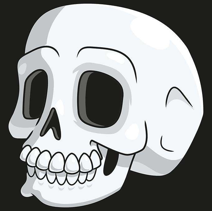How to Draw a Cartoon Skull Step 10
