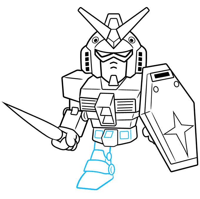How to Draw Chibi SD Gundam: Step 8