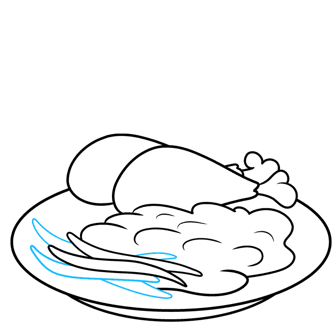 How to Draw Chicken Dinner: Step 6