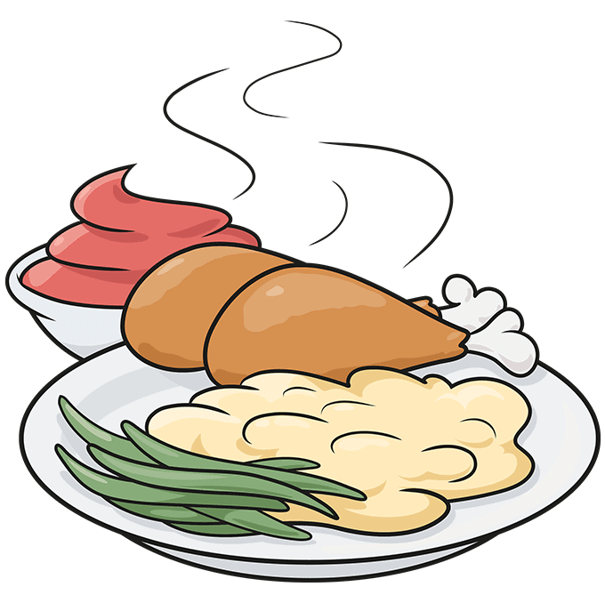 How to Draw Chicken Dinner: Step 10