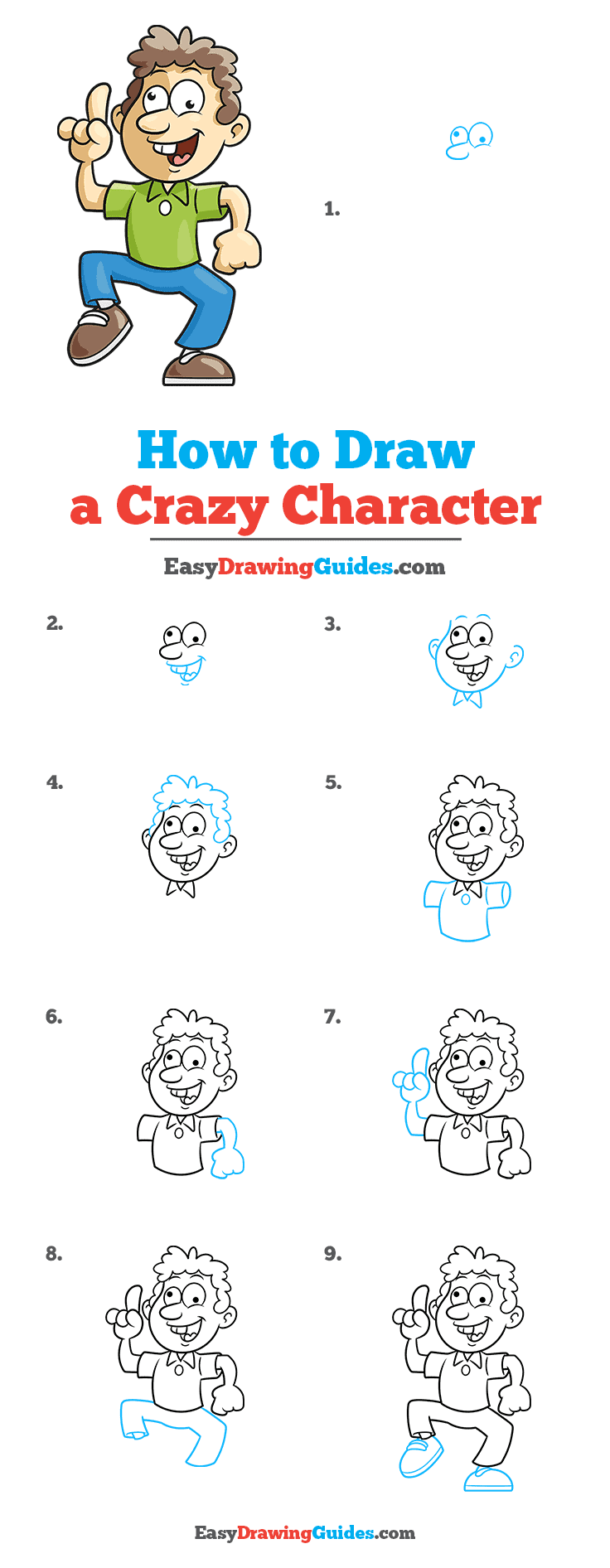 How to Draw a Crazy Character Step by Step Tutorial Image