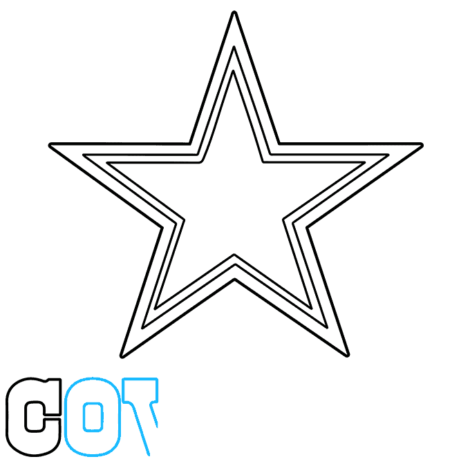 How to Draw Dallas Cowboys Logo: Step 5
