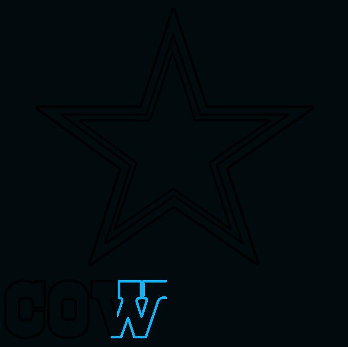How to Draw Dallas Cowboys Logo: Step 6