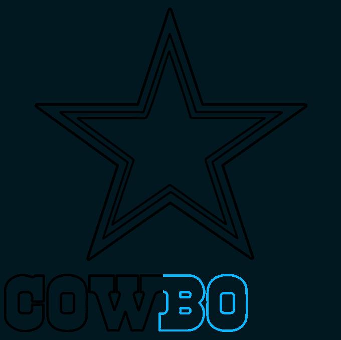 How to Draw Dallas Cowboys Logo: Step 7