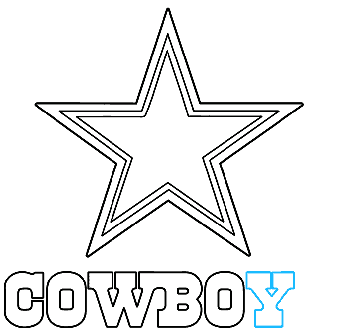 How to Draw Dallas Cowboys Logo: Step 8