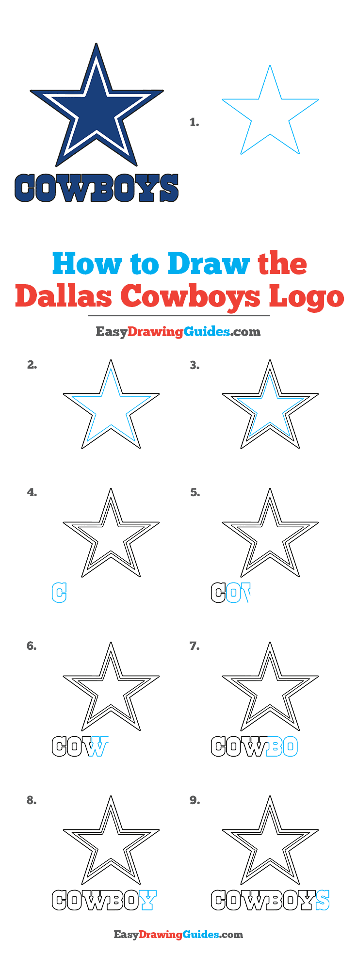 How to Draw Dallas Cowboys Logo