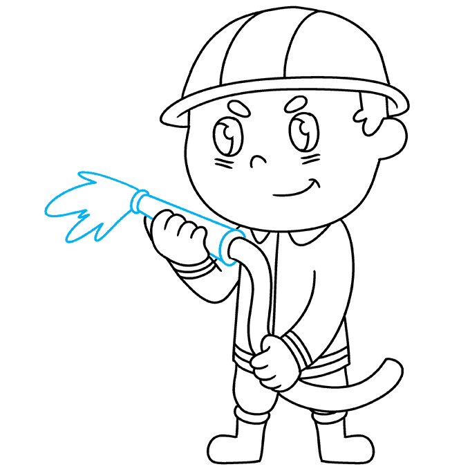 How to Draw Firefighter: Step 9