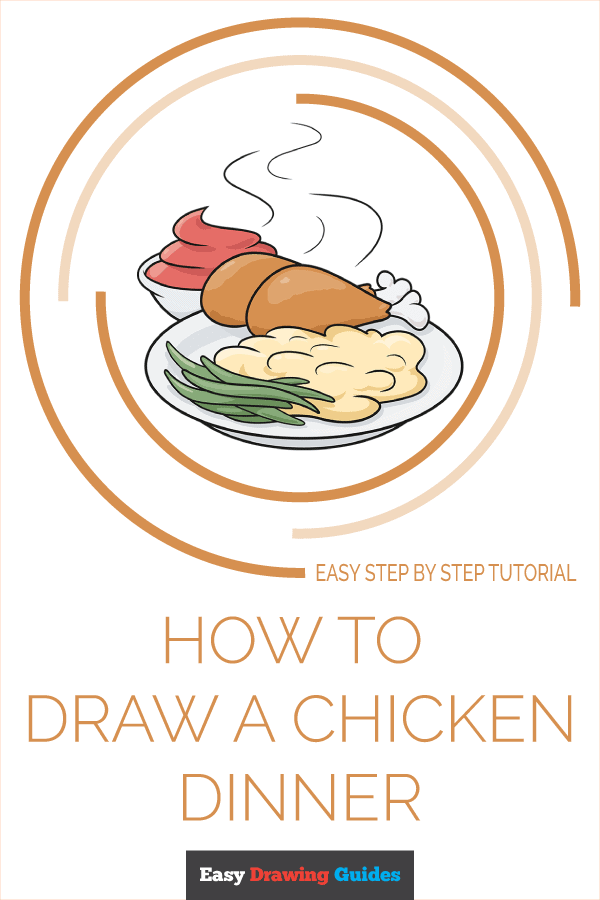 How to Draw Chicken Dinner | Share to Pinterest