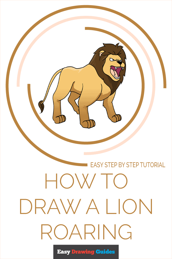How to Draw Lion Roaring | Share to Pinterest