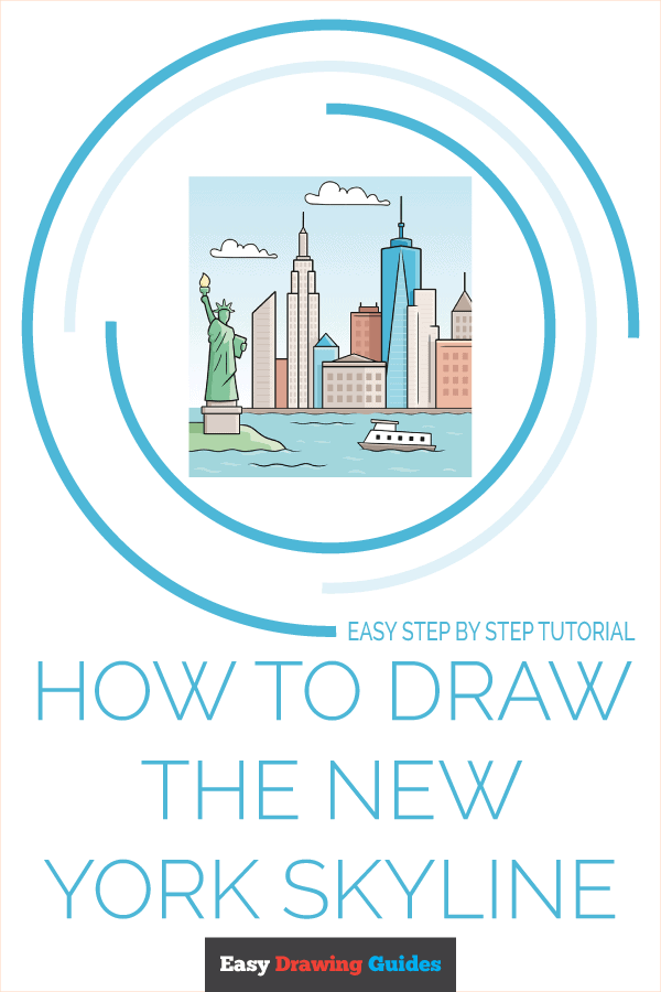 How to Draw New York Skyline | Share to Pinterest