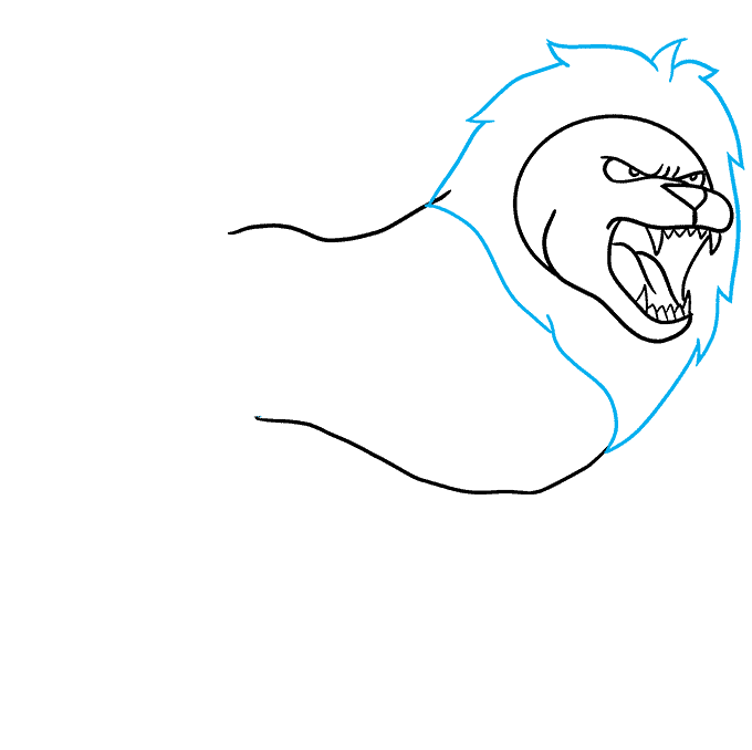 How to Draw Lion Roaring: Step 4