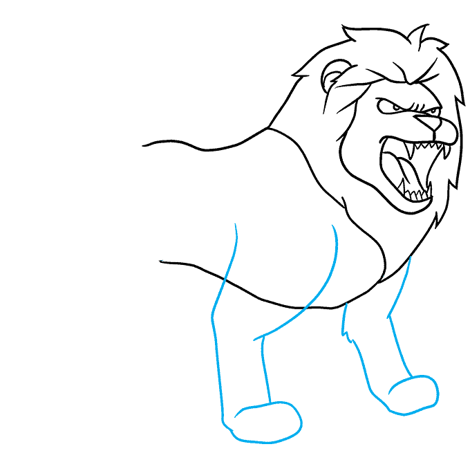 How to Draw Lion Roaring: Step 6