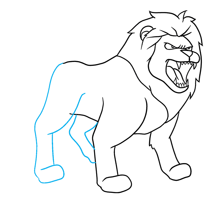 How to Draw Lion Roaring: Step 7