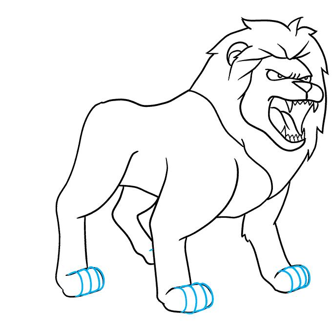 How to Draw Lion Roaring: Step 8