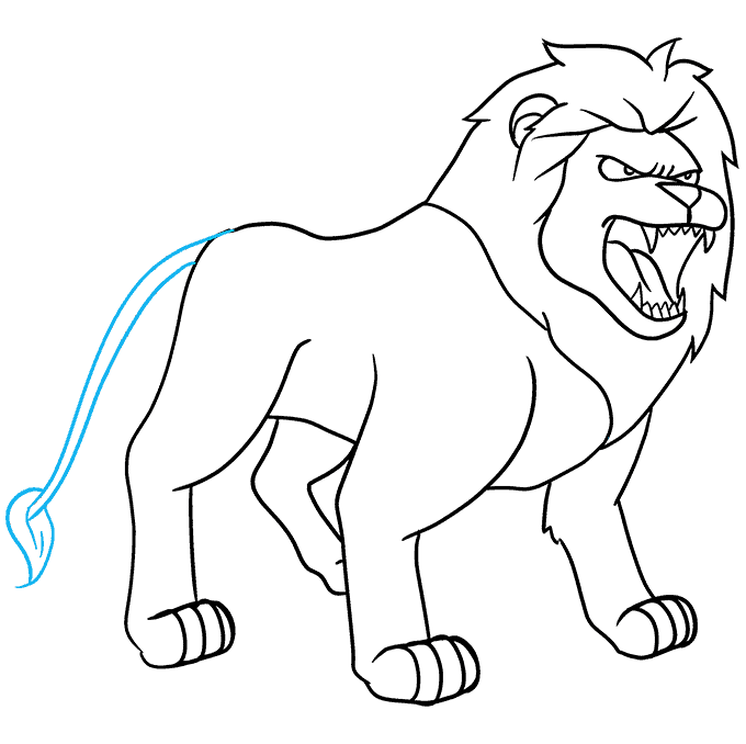 How to Draw Lion Roaring: Step 9