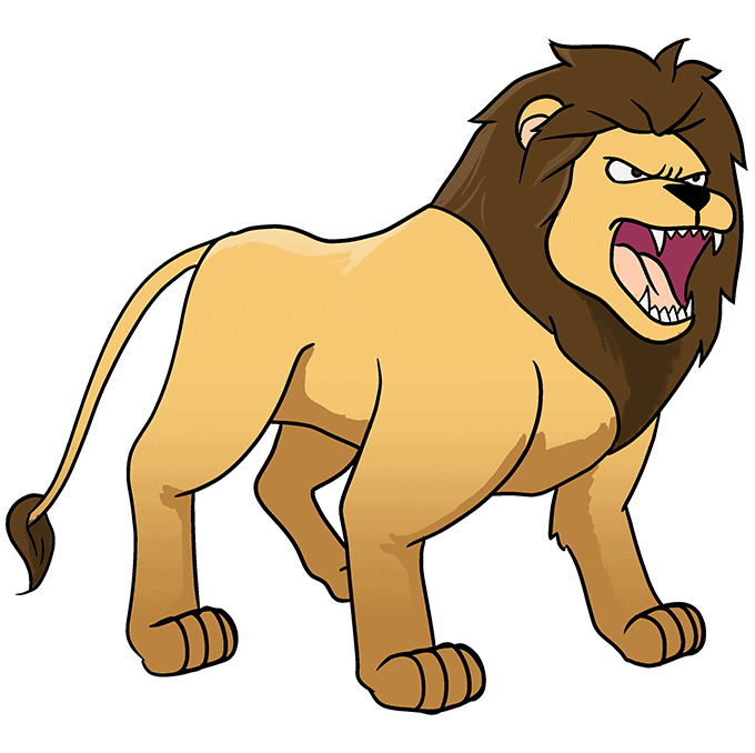 How to Draw Lion Roaring: Step 10