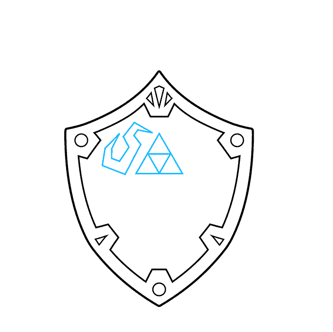 How to Draw The Master Sword and Hylian Shield from the Legend of Zelda: Step 3