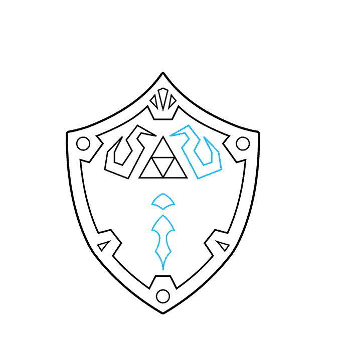 How to Draw The Master Sword and Hylian Shield from the Legend of Zelda: Step 4