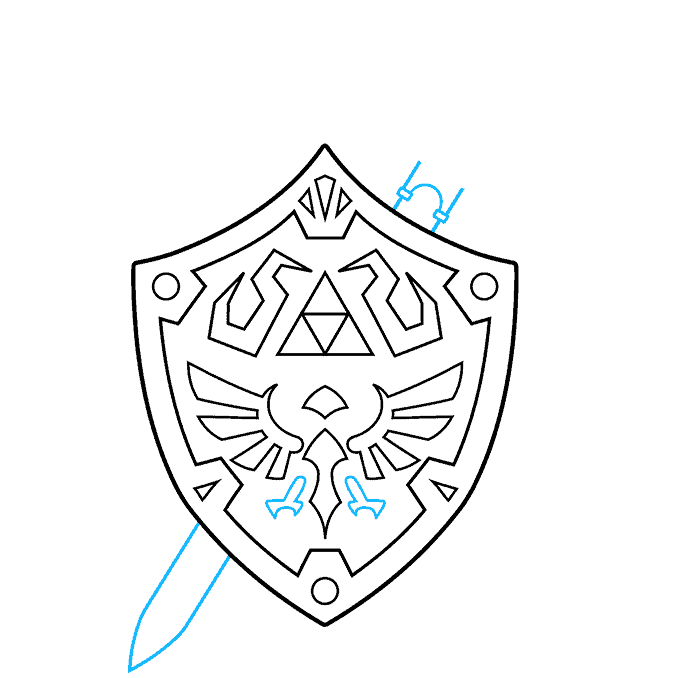 How to Draw The Master Sword and Hylian Shield from the Legend of Zelda: Step 6