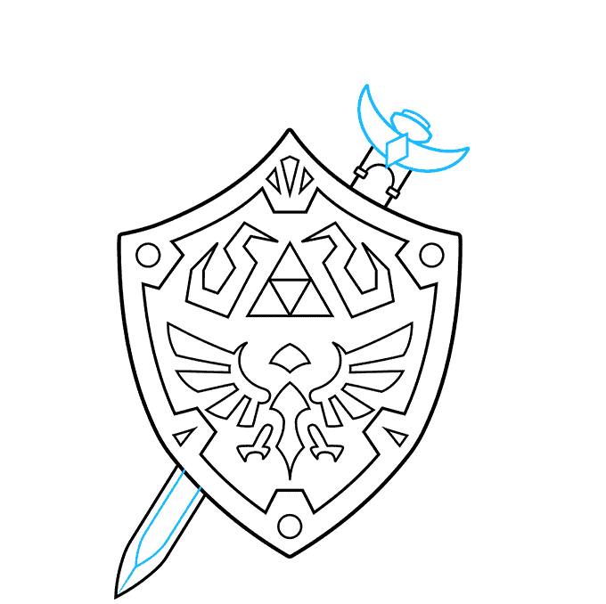 How to Draw The Master Sword and Hylian Shield from the Legend of Zelda: Step 7