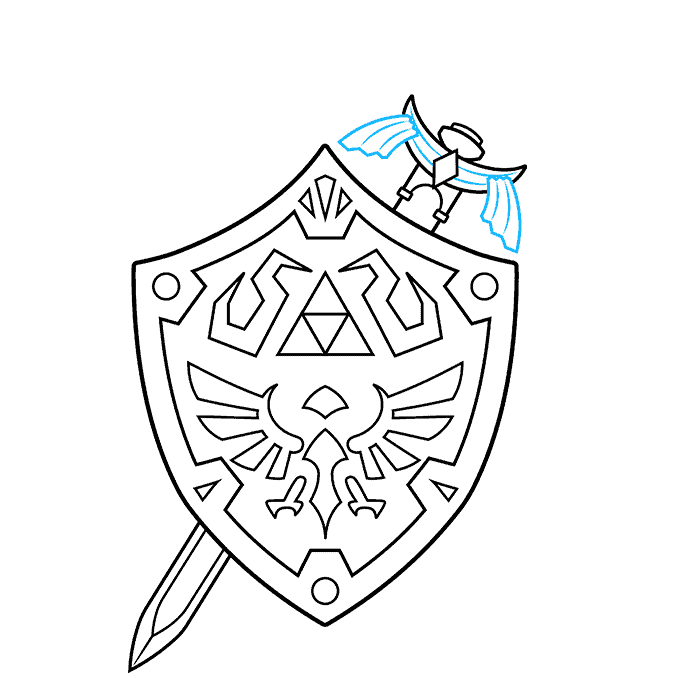 How to Draw The Master Sword and Hylian Shield from the Legend of Zelda: Step 8