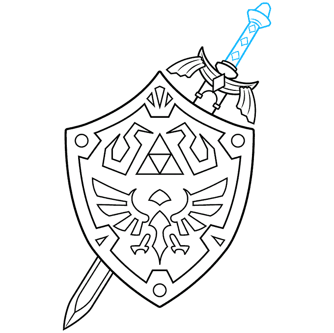 How to Draw The Master Sword and Hylian Shield from the Legend of Zelda: Step 9