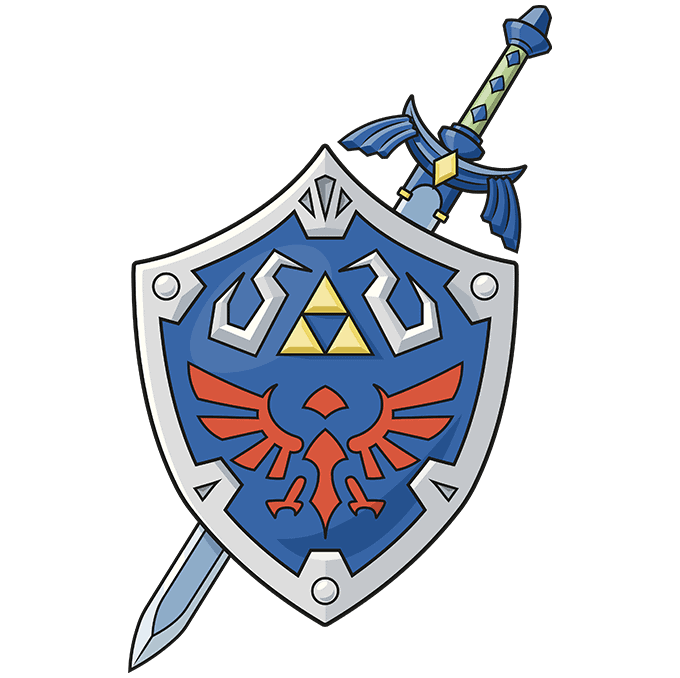 How to Draw The Master Sword and Hylian Shield from the Legend of Zelda: Step 10