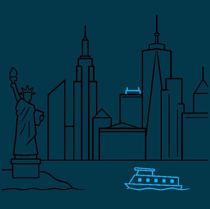 How to Draw New York Skyline: Step 8