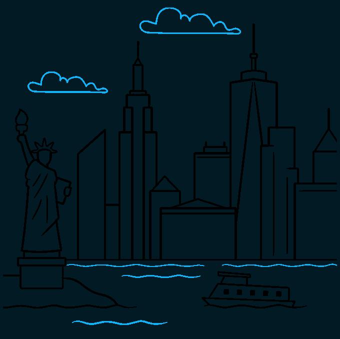 How to Draw New York Skyline: Step 9