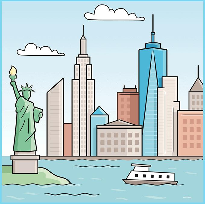 How to Draw New York Skyline: Step 10