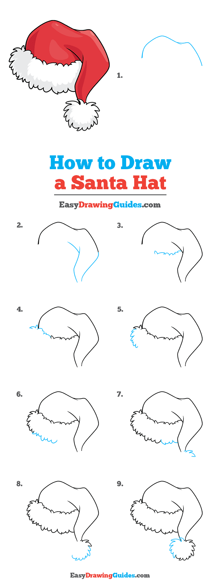 How to Draw a Santa Hat Step by Step Tutorial Image
