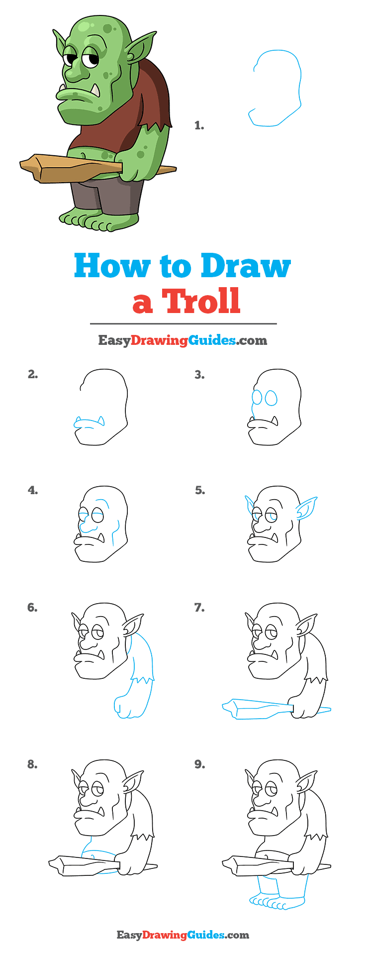 How to Draw a Troll Step by Step Tutorial Image