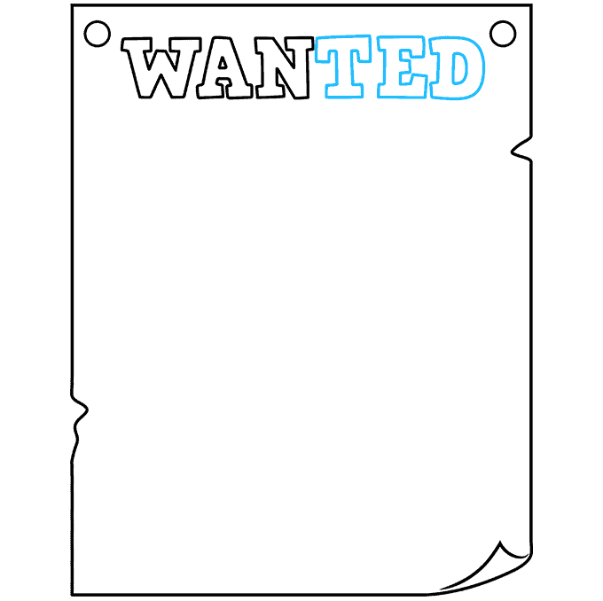 How to Draw Wanted Poster: Step 3