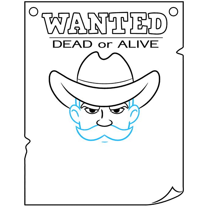 How to Draw Wanted Poster: Step 7