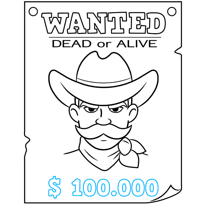 How to Draw Wanted Poster: Step 9