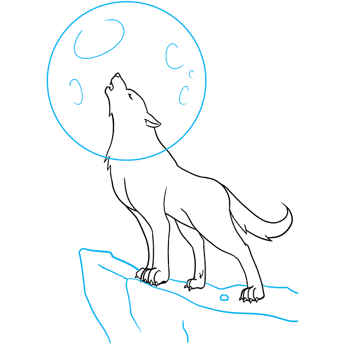 How to Draw a Wolf Howling Step 08