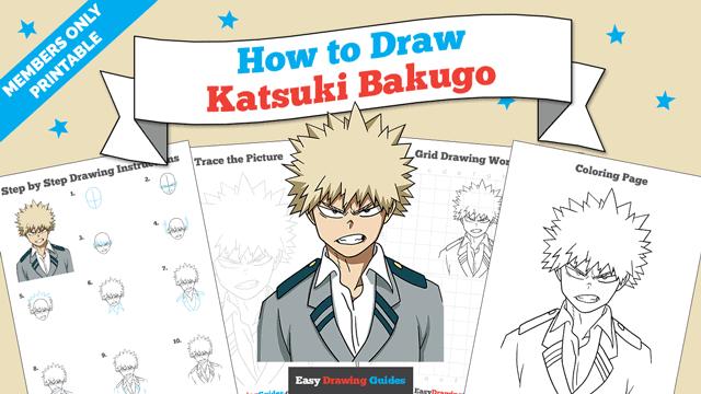download a printable PDF of Katsuki Bakugo drawing tutorial